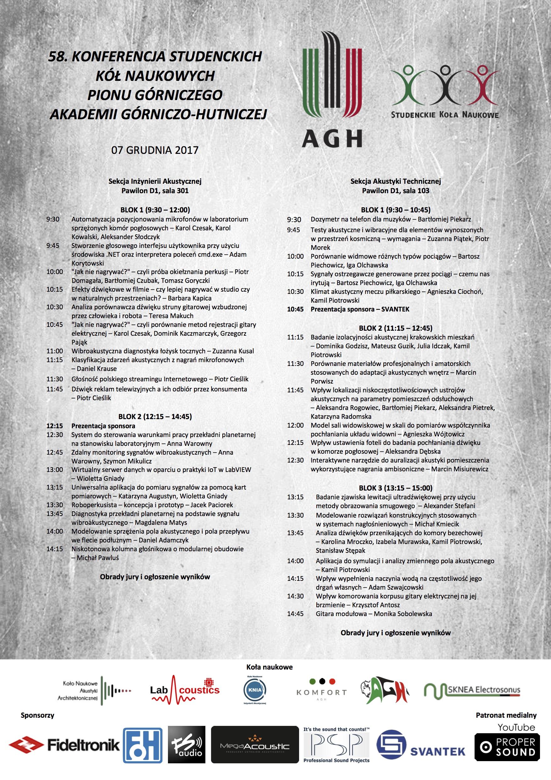 58. Konferencja KNPG – Sekcja Inżynierii Akustycznej